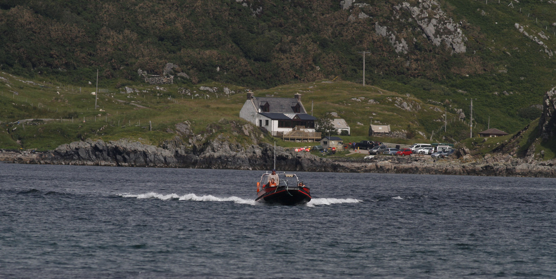 Handa ferry, with Tarbet in the background